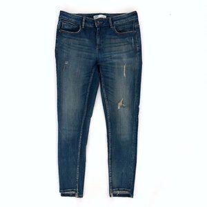 ZARA Women's Ripped Vintage Wash Skinny Jeans 06
